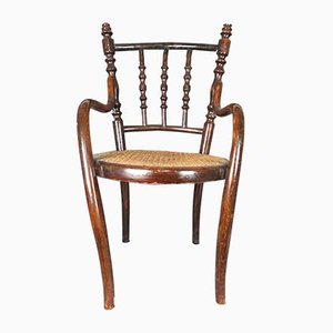 Vintage French Wood & Cane Side Chair, 1920s