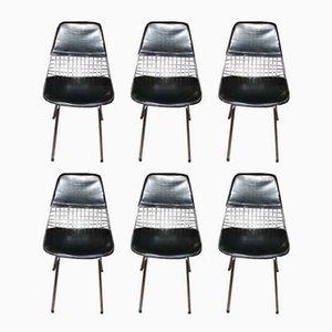 Chaises d'Appoint en Plaqué Chrome et Cuir, 1970s, Set de 6