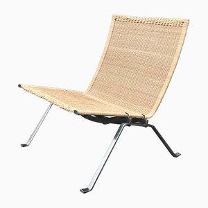 Dänischer PK22 Stuhl aus Stahl & Korbgeflecht von Poul Kjærholm für Fritz Hansen, 2000er