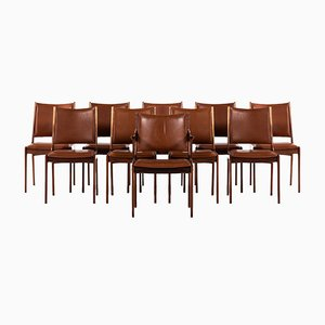 Scandinavian Modern Danish Leather and Rosewood Dining Chairs by Johannes Andersen, 1960s, Set of 10