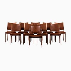 Sedie da pranzo moderne in pelle e palissandro di Johannes Andersen, Danimarca, anni '60, set di 10