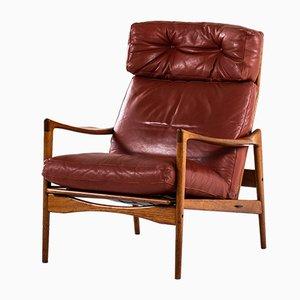 Moderner skandinavischer Örenäs Beistellstuhl aus Leder & Teak von Ib Kofod-Larsen, 1950er
