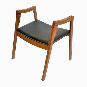 Italian Modern Leather & Mahogany Stool by Ico & Luisa Parisi for Cassina, 1961