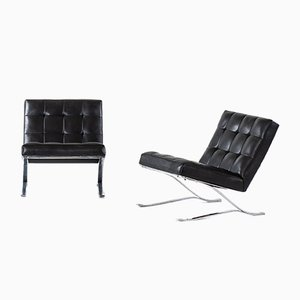 Scandinavian Modern Leather and Steel Lounge Chairs by Sam Larsson for Dux, 1960s, Set of 2