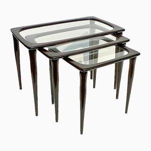 Tavolini ad incastro in faggio di Ico & Luisa Parisi per De Baggis, Italia, anni '50