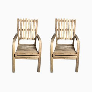 Vintage French Teak Garden Chairs, 1980s, Set of 2