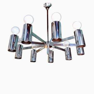 Lámpara de araña italiana vintage grande de acero, años 70