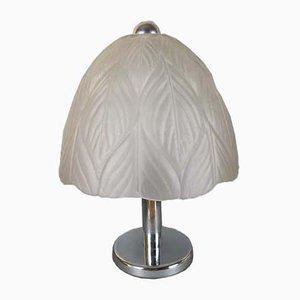 Lámpara de mesa alemana de metal cromado y vidrio cortado de Peill & Putzler, años 60
