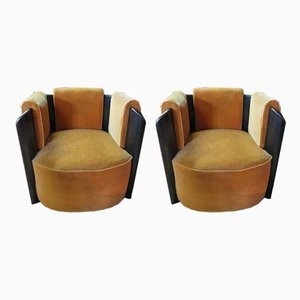 French Art Deco Velvet & Wood Armchairs, 1950s, Set of 2