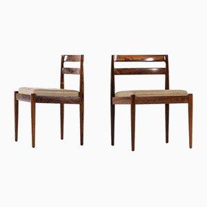 Sedie da pranzo moderne in pelle e palissandro di Kai Kristiansen, Danimarca, anni '60, set di 6