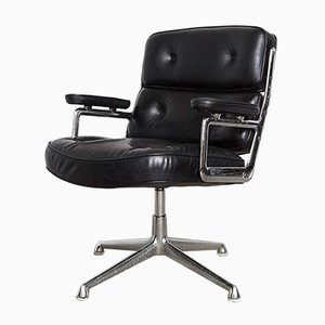 Aluminum and Leather ES 108 Time Life Chair Swivel Chair by Charles & Ray Eames for Herman Miller, 1970s