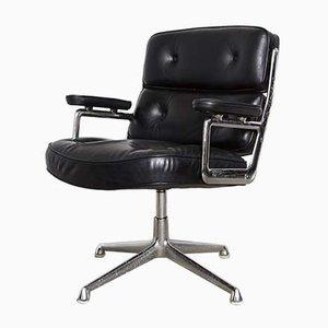Sedia girevole Time Life ES 108 in alluminio e pelle di Charles & Ray Eames per Herman Miller, anni '70