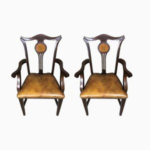 Leather & Mahogany Armchairs, 1940s, Set of 2