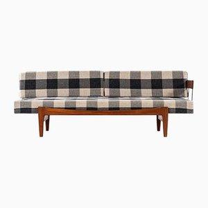 Modernes skandinavisches Sofa mit Stoffbezug & Stahlgestell von Ib Kofod-Larsen, 1960er