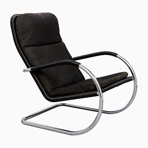 German Rattan and Steel D35 Lounge Chair by Anton Lorenz for Tecta, 1970s