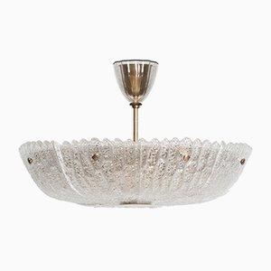 Scandinavian Modern Brass and Glass Ceiling Lamp by Carl Fagerlund, 1960s