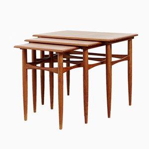 Tavolini ad incastro in teak di Kai Kristiansen per Skovmand & Andersen, Danimarca, anni '60