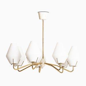 Lampada da soffitto moderna in ottone e vetro opalino, Scandinavia, anni '50
