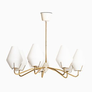 Scandinavian Modern Brass and Opaline Glass Ceiling Lamp, 1950s