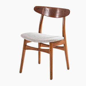 Scandinavian Modern Danish Fabric and Oak Dining Chairs by Hans Wegner, 1950s, Set of 11