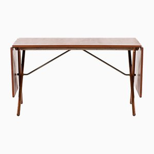Danish Brass and Oak Nesting Tables by Hans Wegner, 1950s