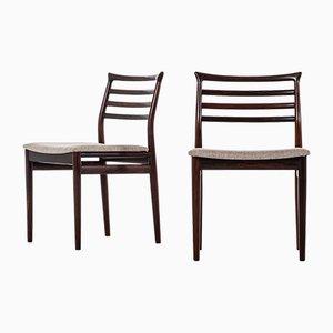 Dänische Esszimmerstühle mit Stoffbezug & Gestell aus Palisander von Erling Torvits für Sorø Stolefabrik, 1960er, 8er Set