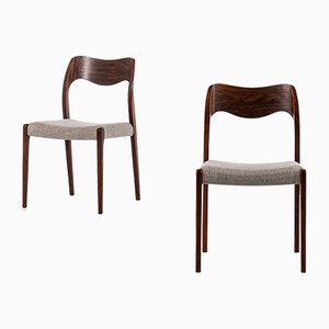 Dänische Esszimmerstühle mit Stoffbezug & Gestell aus Palisander von Niels O. Møller für J.L. Møllers Møbelfabrik, 1950er, 6er Set