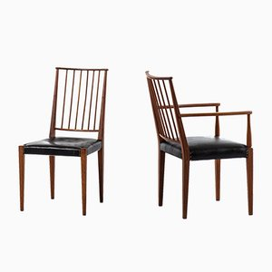 Brass and Leather Dining Chairs by Josef Frank for Svenskt Tenn, 1940s, Set of 10