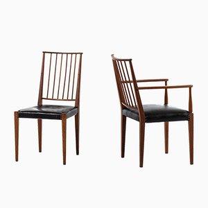 Esszimmerstühle mit Sitz aus Leder & Messingnieten von Josef Frank für Svenskt Tenn, 1940er, 10er Set