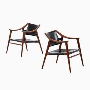 Armlehnstühle mit Lederbespannung & Gestell aus Teak von Rolf Rastad & Adolf Relling für Gustav Bahus, 1950er, 2er Set