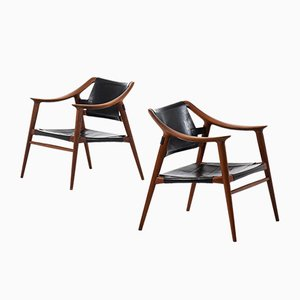 Leather and Teak Armchairs by Rolf Rastad & Adolf Relling for Gustav Bahus, 1950s, Set of 2