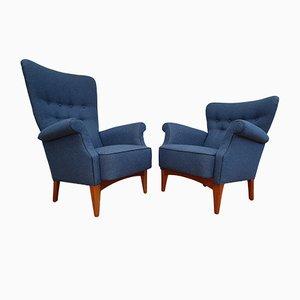 Moderne skandinavische Sessel mit Stoffbezug & Gestell aus Buche von Fritz Hansen, 1960er, 2er Set