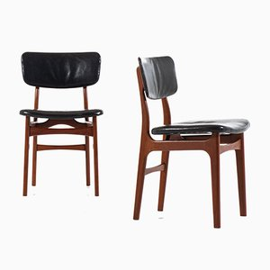 Danish Leather and Teak Dining Chairs by Gustav Bertelsen for Gustav Bertelsen, 1950s, Set of 8