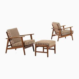 Dänische Sessel mit Stoffbezug & Gestell aus Buche von Hans Wegner für Getama, 1950er, 2er Set