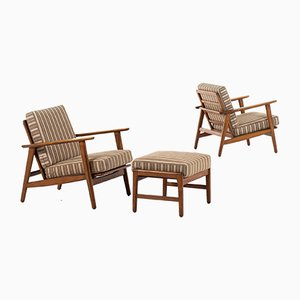 Danish Beech and Fabric Armchairs by Hans Wegner for Getama, 1950s, Set of 2