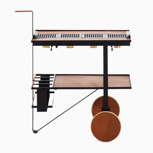 Brass, Leather, and Teak Trolley by Cees Braakman & Adriaan Dekker for UMS Pastoe, 1950s