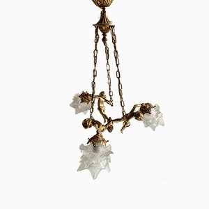 Antique Style French Brass and Glass Angel Ceiling Lamp, 1950s