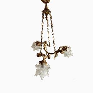 Lampada da soffitto antica in ottone e vetro, Francia, anni '50