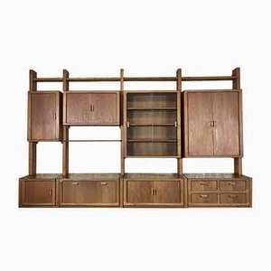 Vintage Danish Teak Wall Unit with Tambour Doors, 1980s