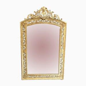 Espejo francés antiguo grande con pan de oro
