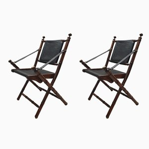 Brass and Leather Folding Chairs, 1980s, Set of 2