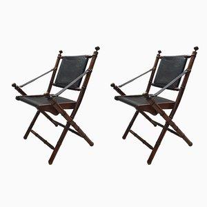 Chaises Pliantes en Laiton et Cuir, 1980s, Set de 2