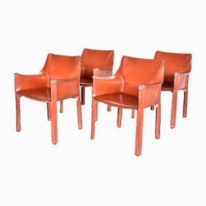 Italian Cab 413 Leather Dining Chairs by Mario Bellini for Cassina, 1990s, Set of 4