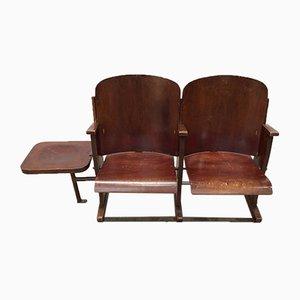 Französische 2-Sitzer-Kinobank aus Schichtholz von Stella, 1950er
