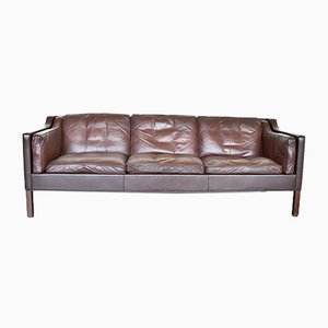 Danish 2213 Leather and Oak 3-Seater Sofa by Børge Mogensen for Fredericia, 1970s