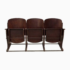 French Plywood 3-Seater Cinema Bench from Stella, 1950s