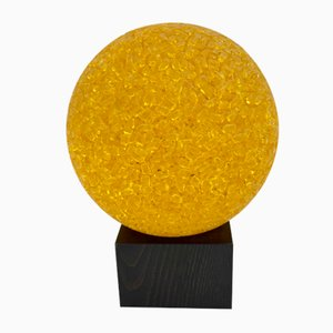 Wood and Colored Glass Table Lamp from BIAB, 1970s
