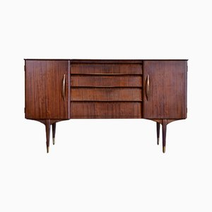 Mid-Century Sideboard aus Messing & Nussholz, 1960er