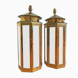 Brass and Metal Table Lamps by Rodolfo Dubarry for Roche Bobois, 1978, Set of 2