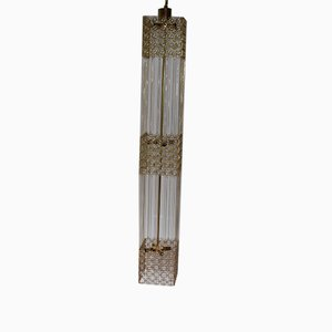German Golden Brass & Crystal Column Chandelier from Palwa, 1960s